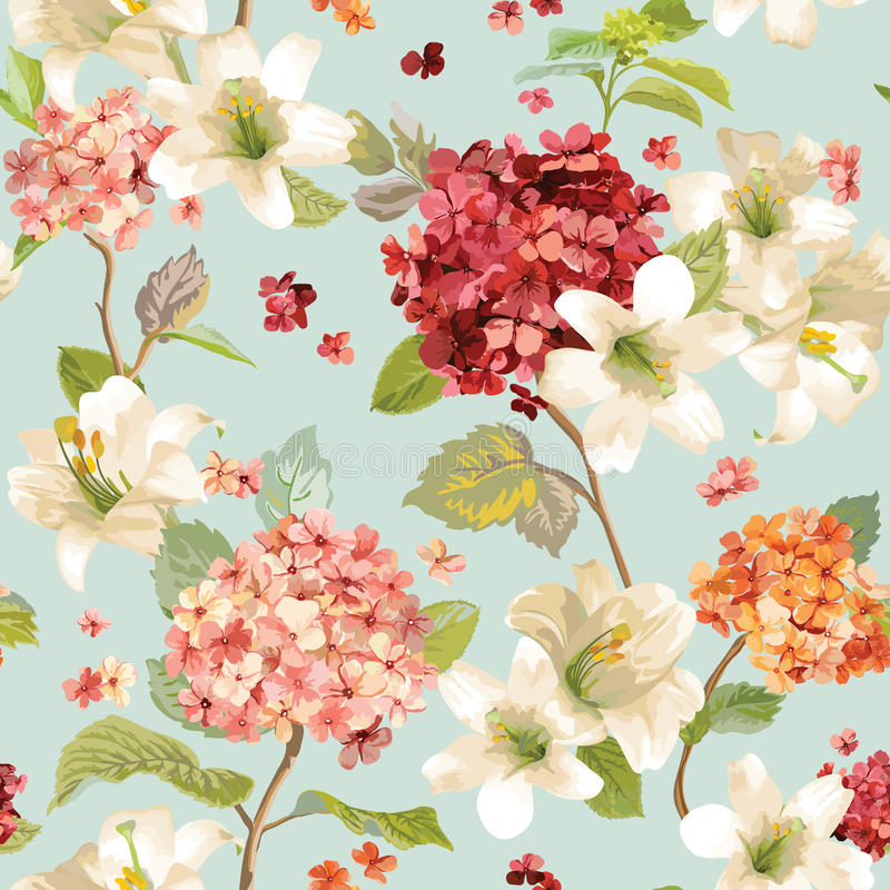 Autumn Hortensia et Lily Flowers Backgrounds Modèle chic minable floral sans couture illustration stock