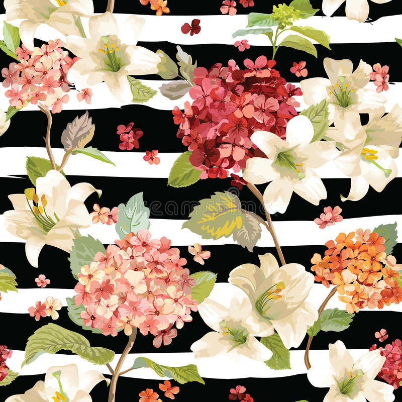 Autumn Hortensia and Lily Flowers Backgrounds. Seamless Floral Shabby Chic Pattern royalty free illustration