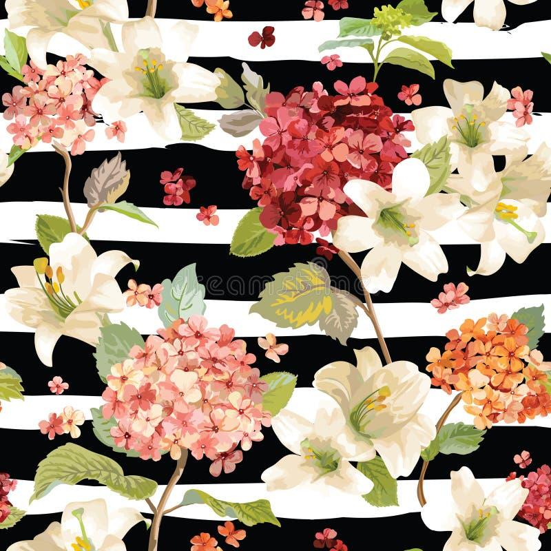 Autumn Hortensia och Lily Flowers Backgrounds Sömlös blom- sjaskig chic modell royaltyfri illustrationer