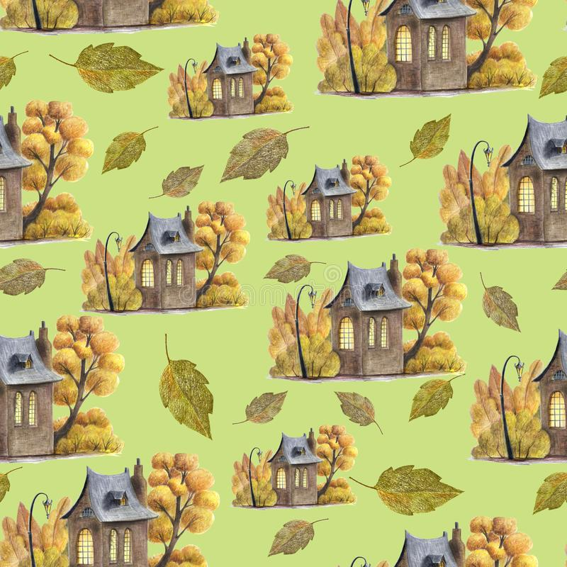 An autumn houses and leaves pattern. vector illustration