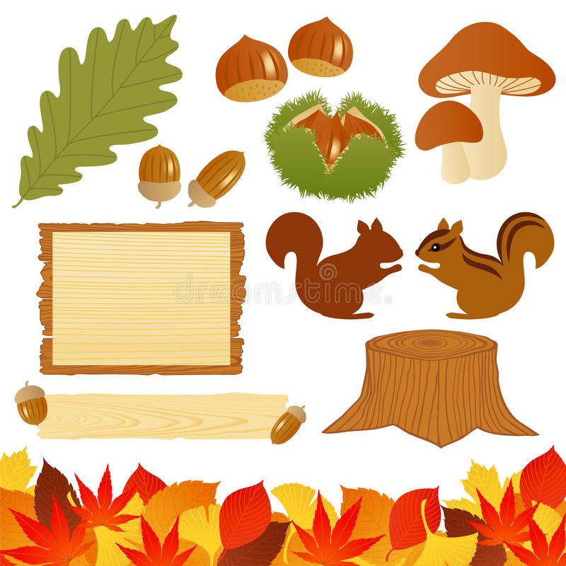 Download Autumn icons stock vector. Image of grain, mushroom, corner - 16185761