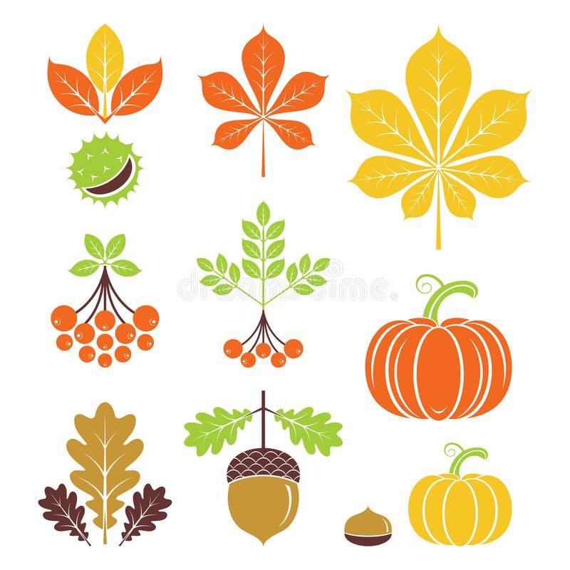 Autumn Icons Auch im corel abgehobenen Betrag stock abbildung