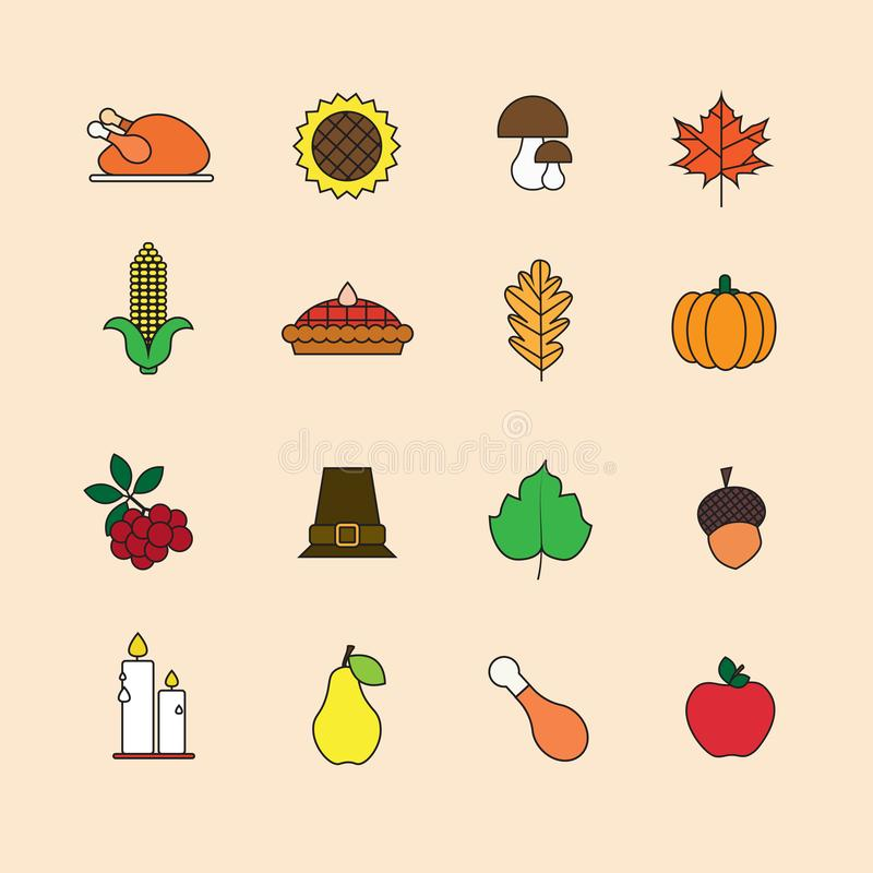 Autumn Icons Set Thanksgiving Day Autumn Traditional Harvest Holiday Concept libre illustration