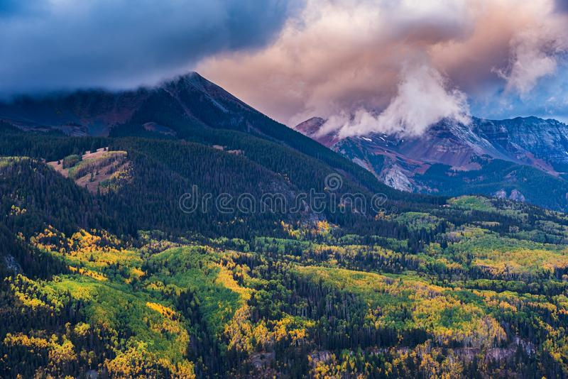 Autumn in the San Juan Mountains of Colorado.  The Wilson Range at Sunrise stock photography
