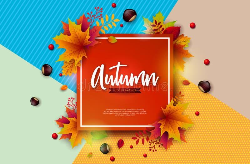 Autumn Illustration con las hojas, la castaña y poner letras descendentes coloridos en fondo colorido abstracto otoñal stock de ilustración