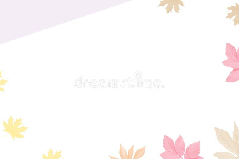 Autumn illustration. Postcard. Autumn leaves. White background stock photos