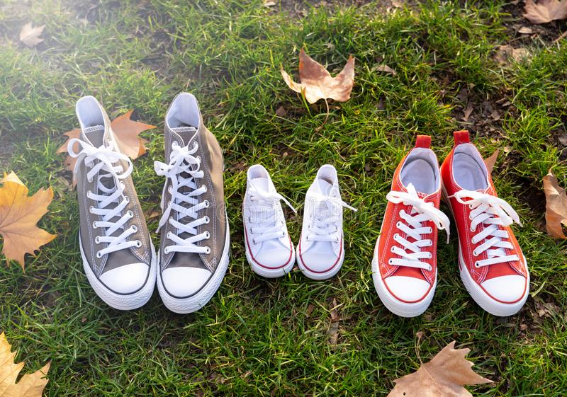 Autumn image of family shoes sneakers gumshoes on grass in sunset light in outdoors family lifestyle stock photography