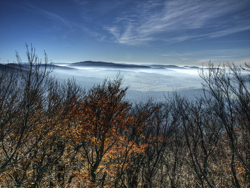Autumn inversion. Typical autumn inversion in Cesky les (Czech republic stock image
