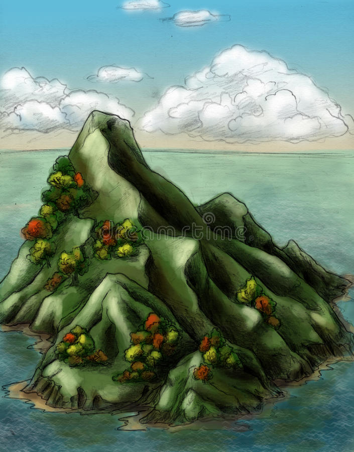 Download Autumn island stock illustration. Image of colour, mountain - 18524765