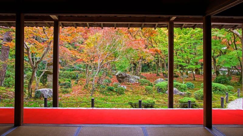 Autumn Japanese Garden in Enkoji in Kyoto royalty-vrije stock fotografie