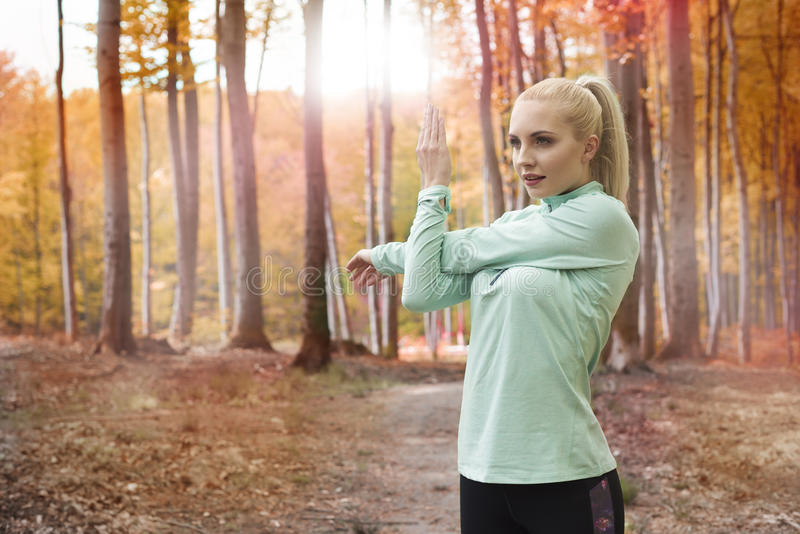 Autumn jogging stock images