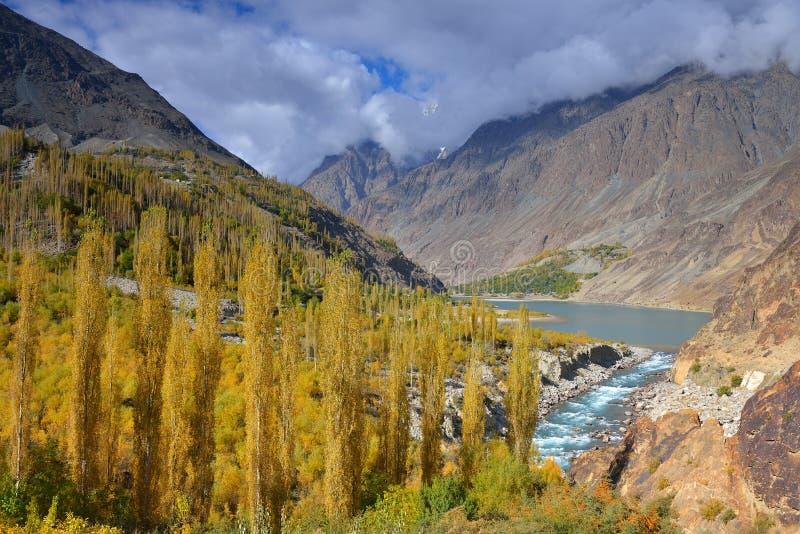 Autumn at Khalti Lake. Ghizer Valley. Northern Pakistan. Beautiful Autumn at Khalti Lake. Ghizer Valley. Northern Pakistan stock photography