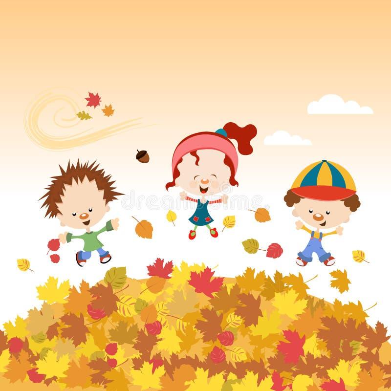 Autumn Kids ilustración del vector