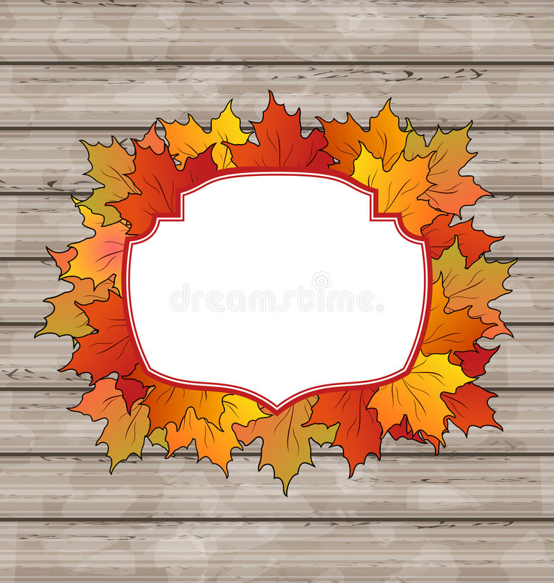 Autumn Label With Leaves Maple, Wooden Texture Royalty Free Stock Photography