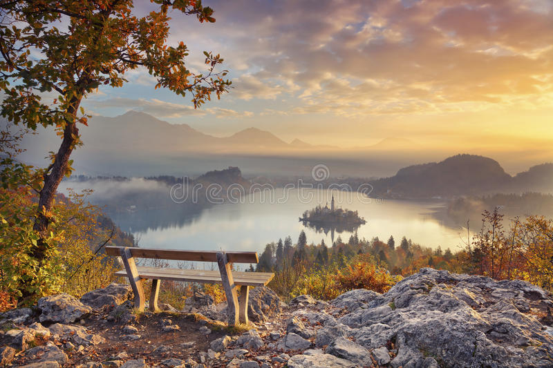 Autumn Lake Bled. Lake Bled with small Bled Island during autumn sunrise. Bled, Slovenia, Europe royalty free stock images