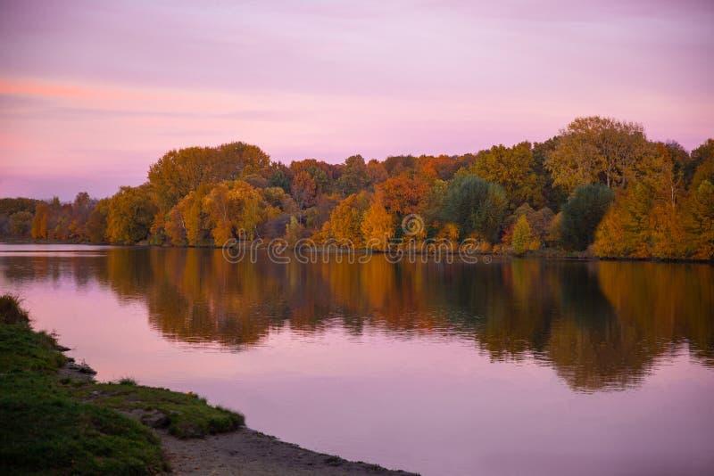 Autumn Lake dans la for?t photo stock