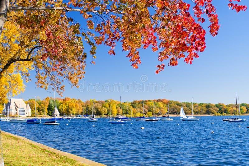 Autumn, lake harriet stock photography
