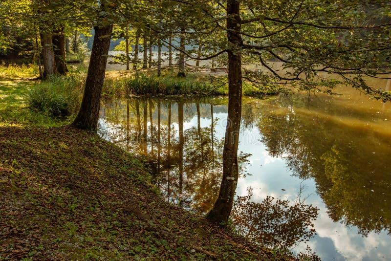 Lake near Trakoschan Castle in Croatia. Autumn on Lake near Trakoschan Castle in Croatia stock images