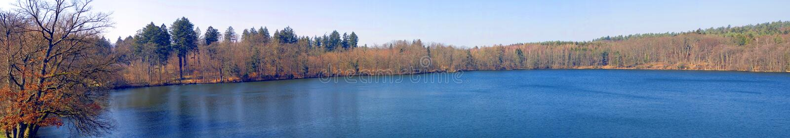 Autumn lake panorama stock image