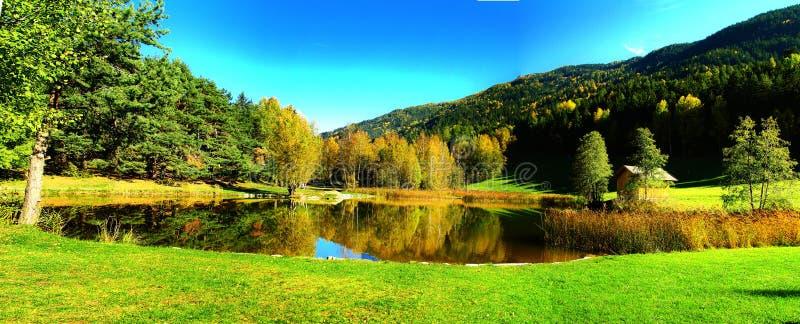 Autumn lake panorama stock photo