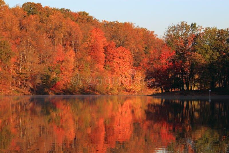 Autumn Lake. On sunny morning, Lake Needwood in Rock Creek Regional Park, Maryland royalty free stock image