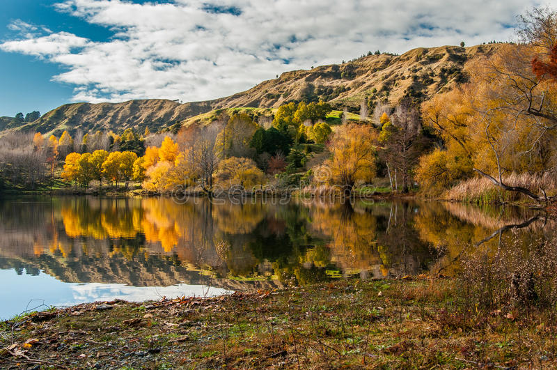 Autumn on Lake Tutira in Hawke's Bay, New Zealand royalty free stock photos