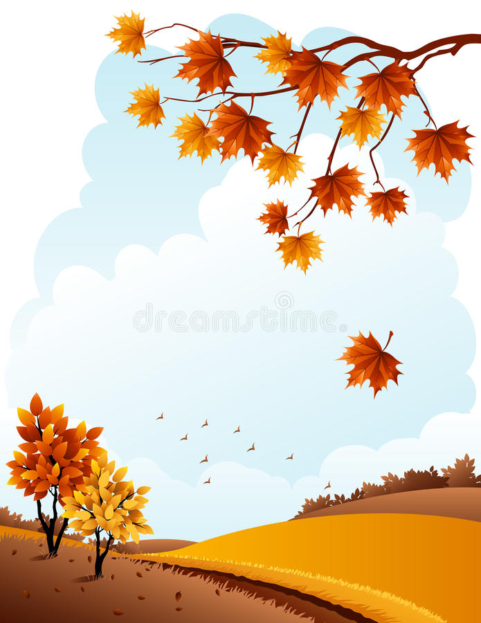 Download Autumn landscape stock vector. Image of maple, outdoors - 16042373