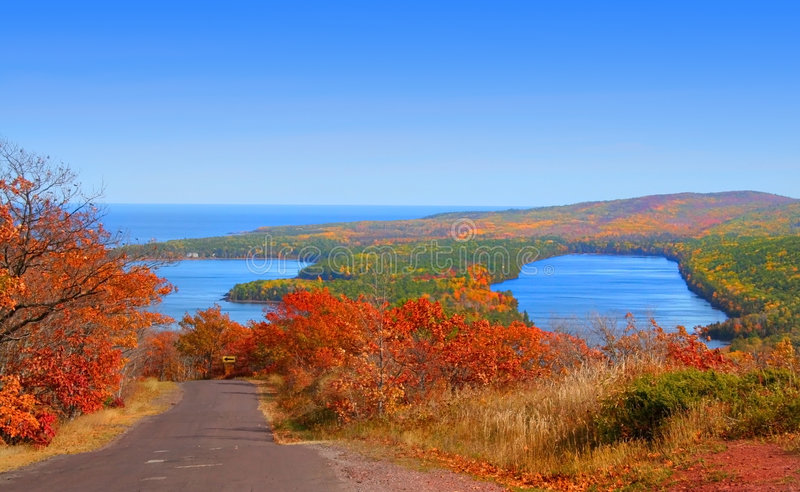 Autumn Landscape. At copper harbor Michigan royalty free stock images