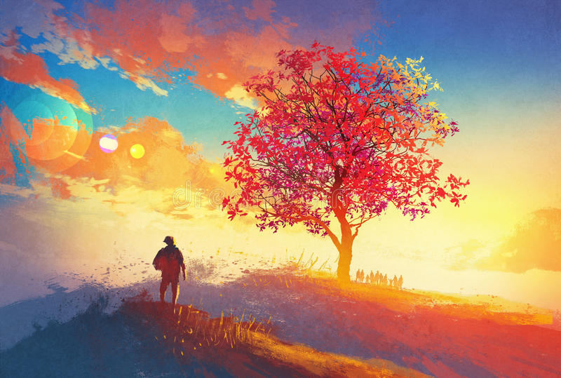 Autumn landscape with alone tree on mountain. Coming home concept,illustration painting vector illustration
