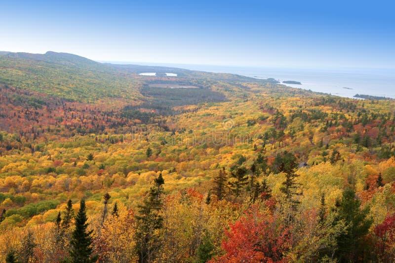 Autumn landscape along lake superior shore stock image