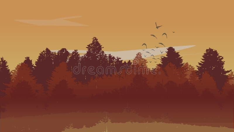 Autumn Landscape Background hermoso con Autumn Colored Pine Tree Forest y los pájaros ascendentes Ilustración del vector fotos de archivo libres de regalías
