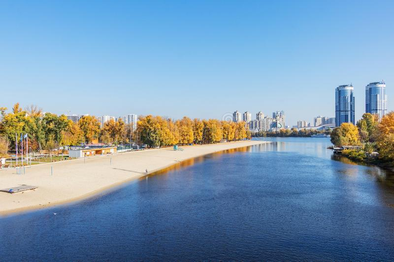 Autumn landscape Beach City on the Dnieper River in Kiev. Autumn landscape city beach for rest Hydropark on the river of the Dnieper in Kiev royalty free stock images