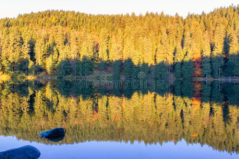 Autumn landscape - Black Forest. A small lake in the high mountains of the Black Forest in autumn stock photos