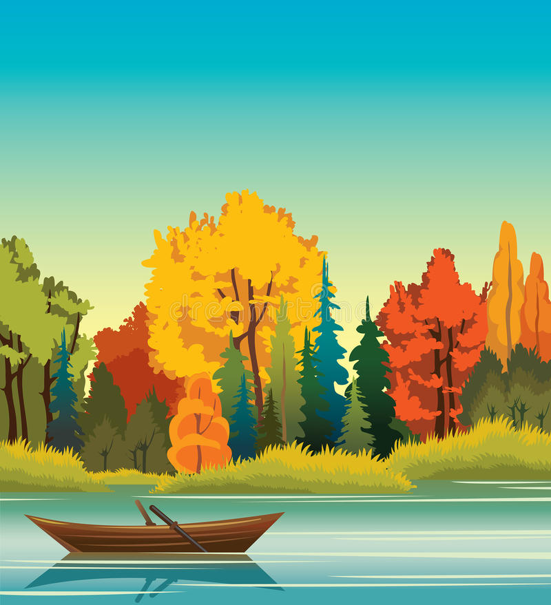 Autumn landscape with boat, lake and forest. Autunm vector landscape. Wooden boat and forest on a calm blue lake. Nature illustration stock illustration