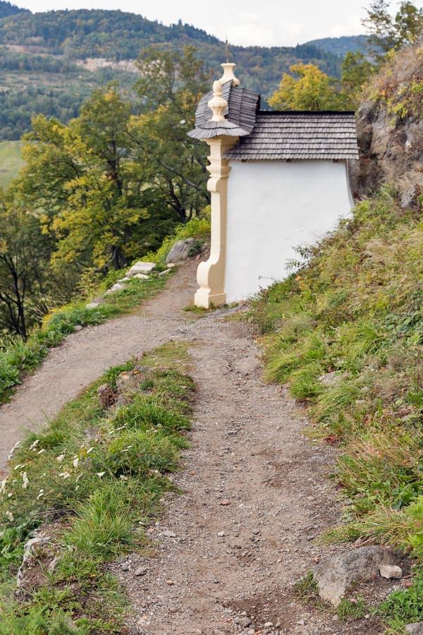 Autumn landscape with Calvary in Banska Stiavnica, Slovakia. royalty free stock image