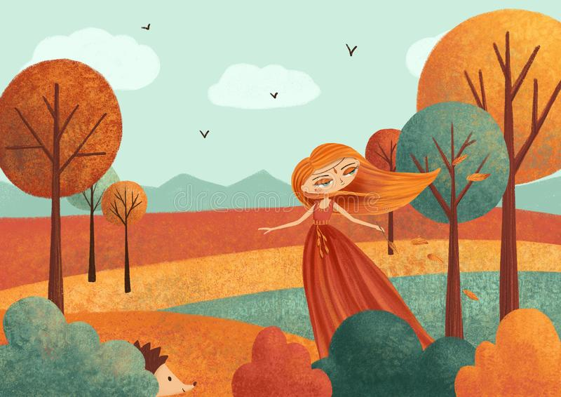 Autumn landscape card with fairy girl, leaves, trees. stock illustration