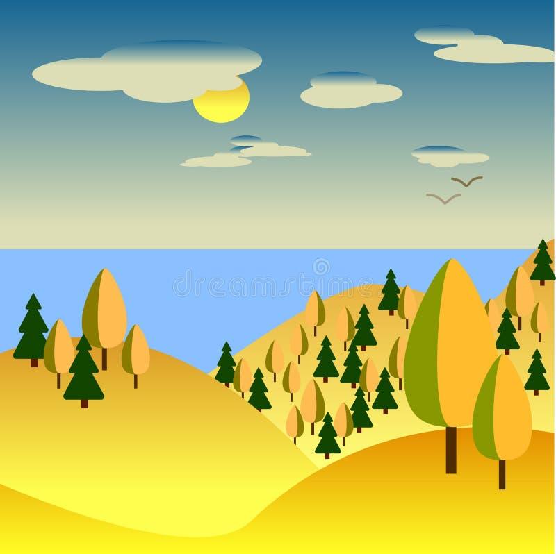 Autumn Landscape collines jaunes avec des arbres En mer de fond illustration libre de droits