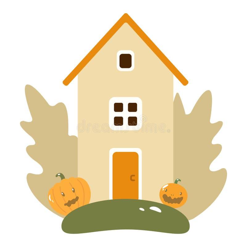 Autumn Landscape con la Camera di legno, zucche, foglie, albero, frutta e Stile piano di progettazione royalty illustrazione gratis