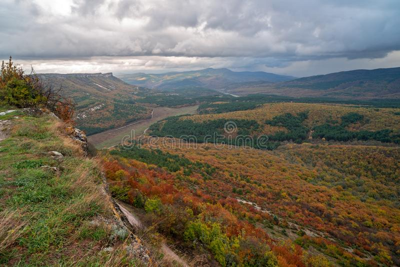 Autumn landscape in Crimea stock photo