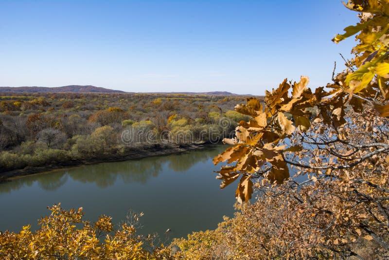 Autumn Landscape de herfstbos en rivier tegen de hemel royalty-vrije stock afbeeldingen