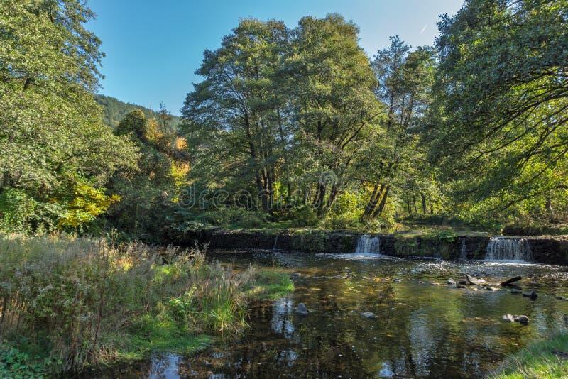 Autumn Landscape de rivière d'Iskar près de lac Pancharevo, Bulgarie images stock