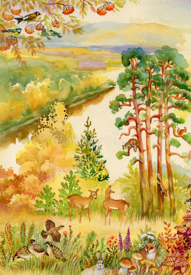 Autumn landscape with deer. Beautiful watercolor stock illustration