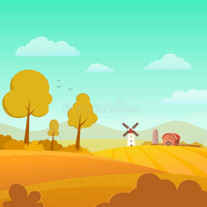 Autumn Landscape with Farm on Sunny Day. Vector Illustration vector illustration