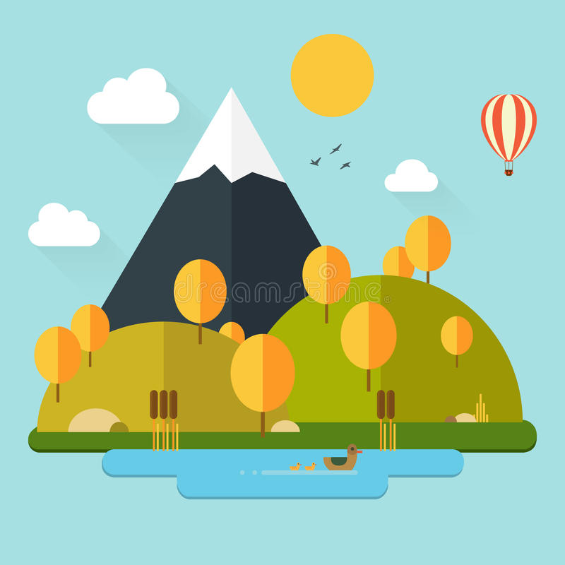 Autumn Landscape in Flat Style royalty free illustration