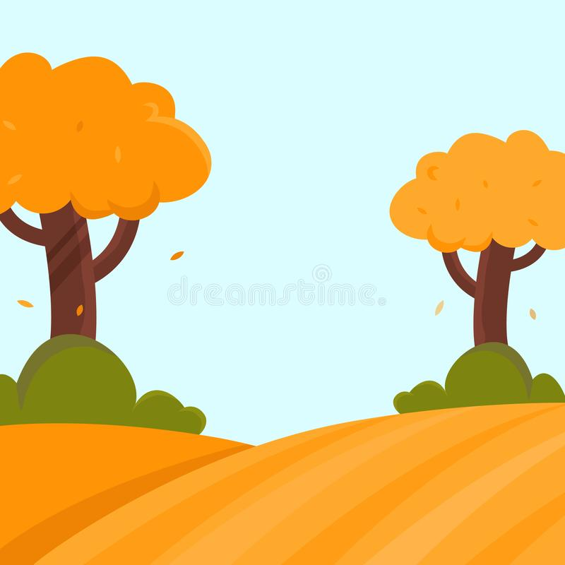 Autumn landscape flat vector illustration with trees and bushes and place for text. stock illustration