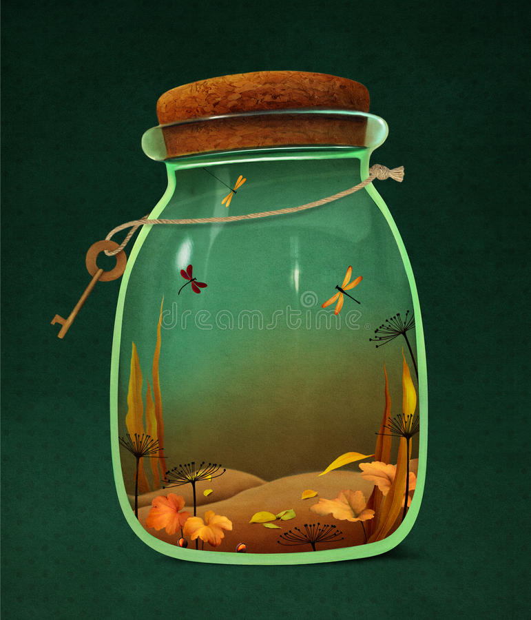 Autumn landscape in jar vector illustration