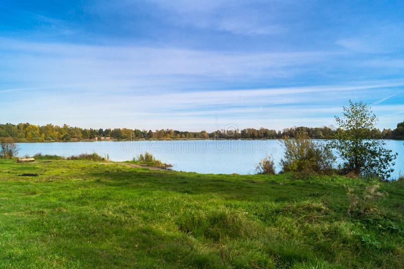 Autumn landscape on the Lake Biserovo, Moscow region, Russia. royalty free stock image