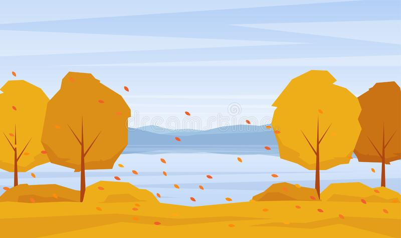 Autumn landscape with lake, trees and fall leaves. Vector illustration: Autumn landscape with lake, trees and fall leaves stock illustration