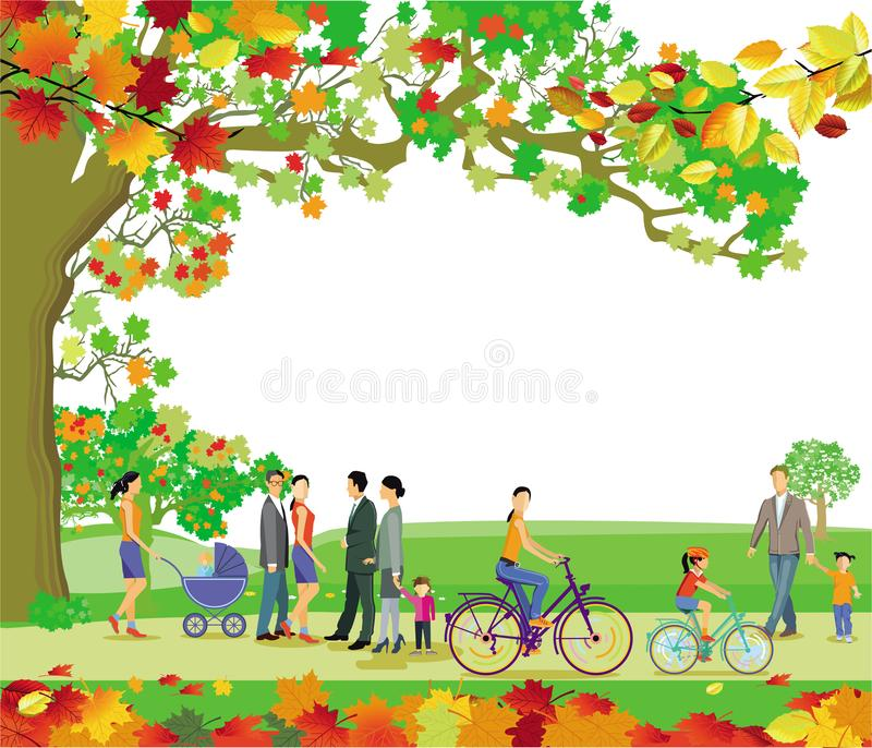Autumn landscape of lawn hill maple branch. Illustration stock illustration