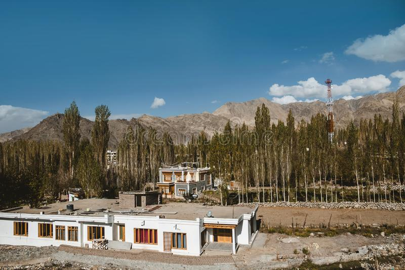 Autumn landscape in Leh Ladakh Region, India stock photography